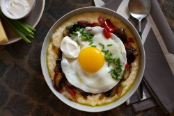 Creamy Polenta with Melted Peppers and Egg