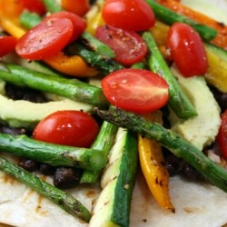 Grilled Vegetable and Black Bean Tostadas