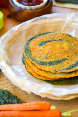 Kale and Carrot Wheat Flat Bread