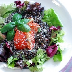 Lentils, Tomatoes and Mixed Leaves