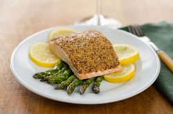 Mustard Crusted Salmon with Roasted