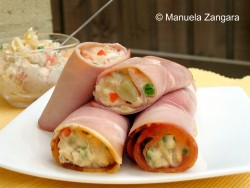 Russian Salad in Ham Cannoli