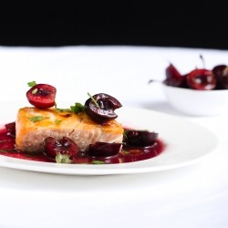 Salmon w/ Cherries and Wine