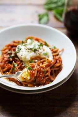 Spaghetti Marinara Poached Eggs