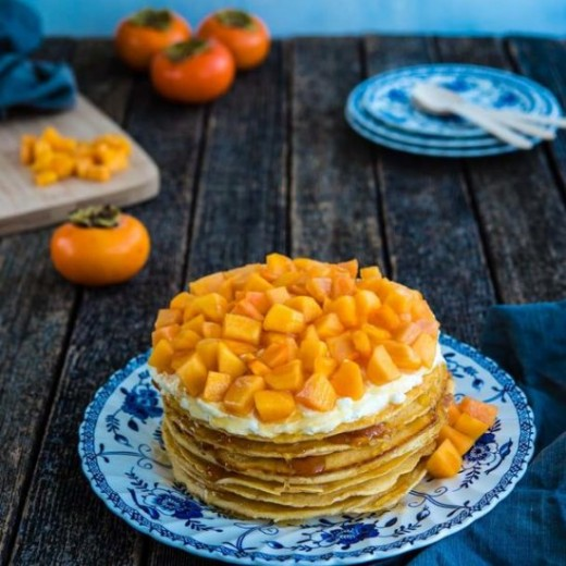 Stacked Pancake Cake with Persimmon