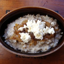 Steel Cut Oats with Caramelized Onions and Ricotta Cheese