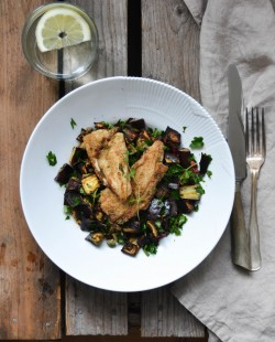 Stuffed Plaice with Roasted Aubergine Recipe