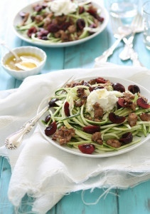 Zucchini Pasta with Sausage Cherries Ricotta Recipe