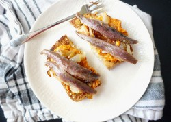 Anchovy Toast with Pimiento Spread