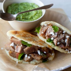 Arepas with Carnitas and Guasacaca
