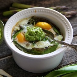 Baked Eggs with Asparagus and Ramps