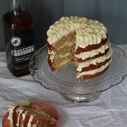 Banana Bourbon Cake with Salted Caramel Sauce and Bourbon Cream Recipe