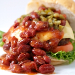 Beef Burger with Beans and Jalapenos
