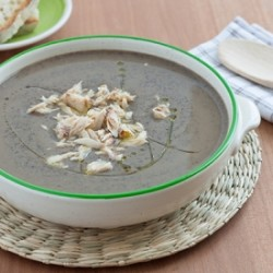 Black Chickpea Soup with Mackerel
