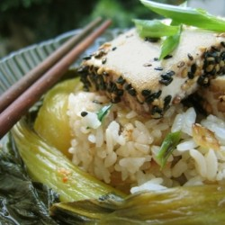 Braised Bok Choy and Sesame Seared Tofu