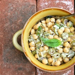 Chickpeas, Garlic and Olive Salad