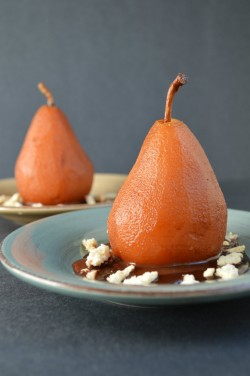 Cocoa Poached Pears