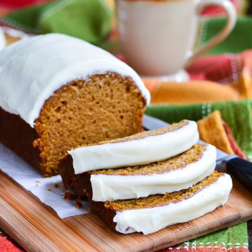 Cream Cheese Frosted Pumpkin Bread