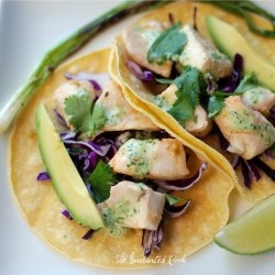 Fish Tacos w/ Lime Cilantro Dressing