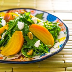 Golden Beet Salad with Pistachios and Goat Cheese recipe