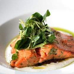 Grilled Salmon with Watercress