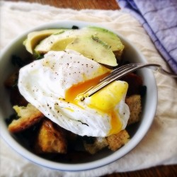 Kale Panzanella with Poached Egg