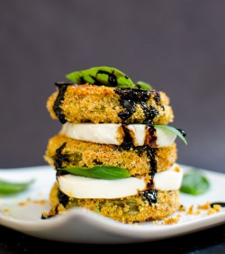 Oven Fried Green Tomato Caprese