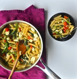 Penne with Rapini, Tomatoes, Feta