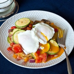 Poached Egg Summer Vegetable Hash