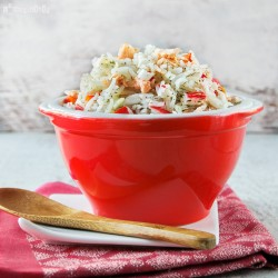 Rice salad with salmon and walnuts