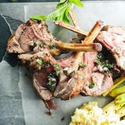 Roasted Rack of Lamb with Mint Salsa Verde