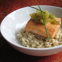 Salmon Barley Alfredo with Green Tomato Relish Recipe
