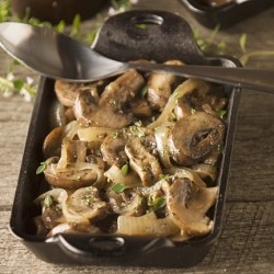 Sauteed Mushrooms and Onions in Butter and Wine