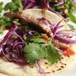 Sirloin Steak Tacos with Red Cabbage Scallions and Cilantro