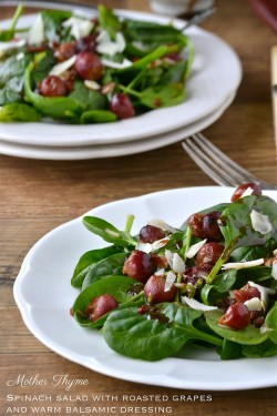 Spinach Salad w/ Roasted Grapes