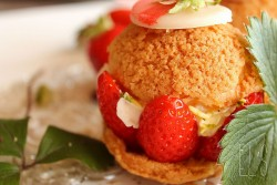 Strawberry Cream Puffs with Pistachio