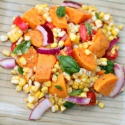 Sweet Potato Corn Tomato Basil Salad Recipe