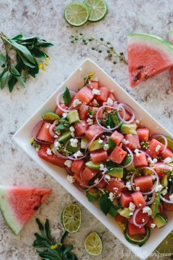 Watermelon, Avocado, and Mint Salad