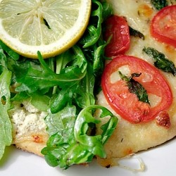 White Pizza with Arugula and Pizza Margherita
