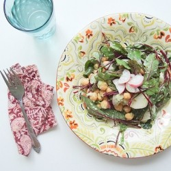 Beet Greens Radish Chickpeas with Hemp Seed Scape Pesto Recipe