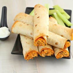 Buffalo Chicken and Kale Taquitos