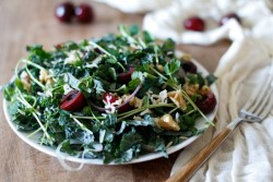 Cherry and Pea Shoot Kale Salad