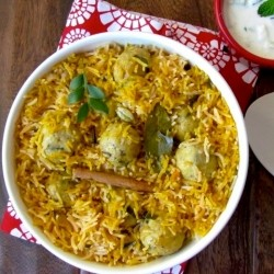 Coconut Saffron Rice Pilaf with Minty Chicken Balls