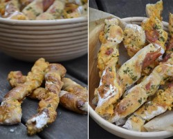 Crispy Bread with Cheddar and Ham