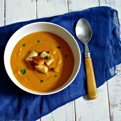 GingerInfused Roasted Carrot Soup with homemade croutons Ideal…