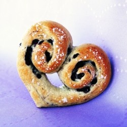 Heart Shaped Blueberry Bagels