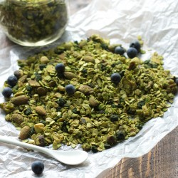 Matcha Granola with Blueberries