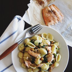 Orecchiette with Roasted Salmon Arugula Artichoke and Green Olives