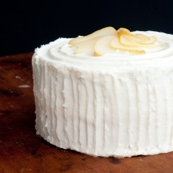 Poached Pear Whipped Cream Cake