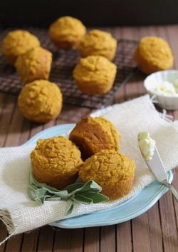 Pumpkin Corn Muffins with Honey Sage Butter Recipe